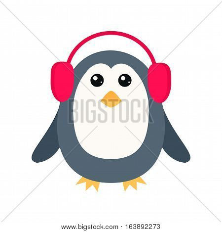 Penguin vector illustration character. Cartoon funny cute animal with headphones isolated. Antarctica polar beak pole winter bird. Funny outdoors wild life south arctic.