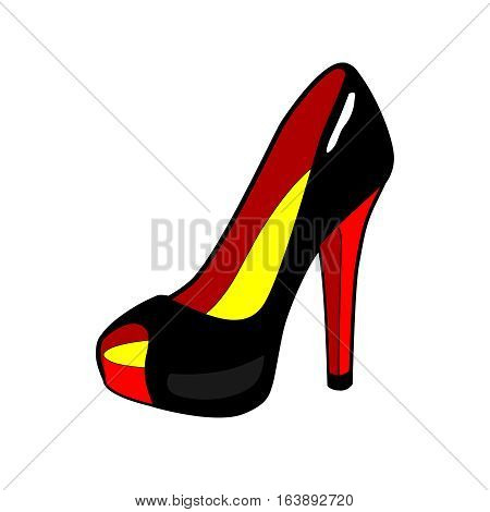 Women's shoe. High heel. Black and Red Elegant fashion modern shoes. Patch badge, sticker, icon isolated on white. Vector Pop art cartoon icon, sign, illustration. Retro comic style 80-s 90s