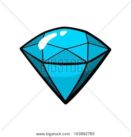 Diamond, jewelry patch badge, sticker, pin isolated on white. Vector cartoon blue shine brilliant, adamant, gem stone. Cool luxury illustration. Modern fashion Pop Art comic style 80s 90s