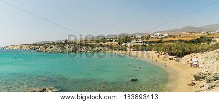 Panorama of Lolantonis beach at Paros island in Greece.