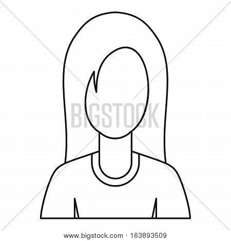 Female avatar profile picture icon. Outline illustration of female avatar profile picture vector icon for web