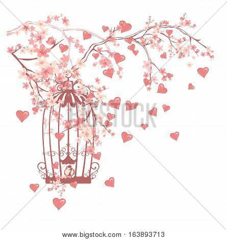 open bird cage among flowers and flying hearts - valentine's day vector design