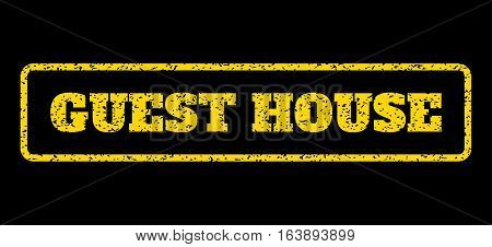 Yellow rubber seal stamp with Guest House text. Vector caption inside rounded rectangular frame. Grunge design and unclean texture for watermark labels. Horisontal sticker on a blue background.