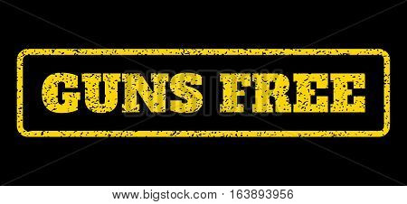 Yellow rubber seal stamp with Guns Free text. Vector caption inside rounded rectangular shape. Grunge design and scratched texture for watermark labels. Horisontal sticker on a blue background.