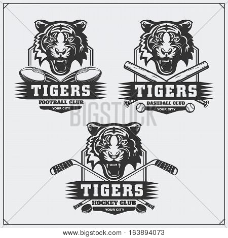 Football, baseball and hockey badges and labels. Sport club emblems with tiger.