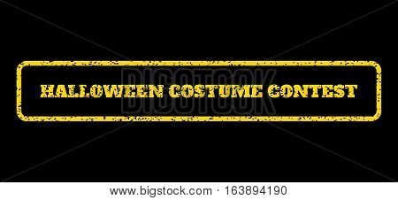 Yellow rubber seal stamp with Halloween Costume Contest text. Vector tag inside rounded rectangular frame. Grunge design and dust texture for watermark labels. Horisontal emblem on a blue background.