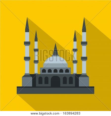 Muslim mosque icon. Flat illustration of muslim mosque vector icon for web isolated on yellow background