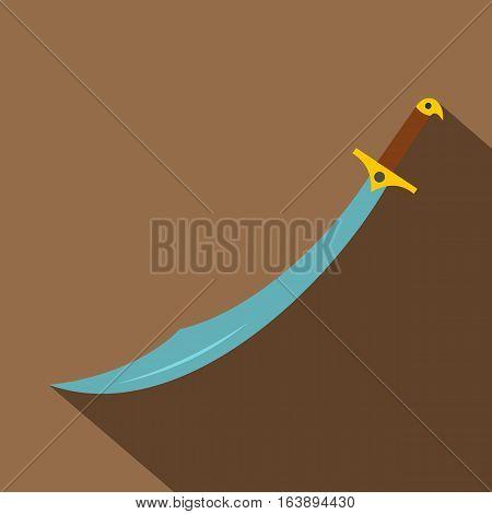 Arabian scimitar sword icon. Flat illustration of arabian scimitar sword vector icon for web isolated on coffee background