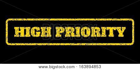 Yellow rubber seal stamp with High Priority text. Vector message inside rounded rectangular shape. Grunge design and dirty texture for watermark labels. Horisontal sign on a blue background.