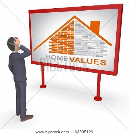 Home Values Represents Selling Price 3D Rendering