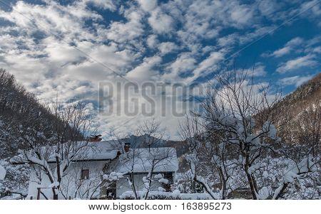 Ribaritsa and Beli Vit river winter landscape Bulgaria