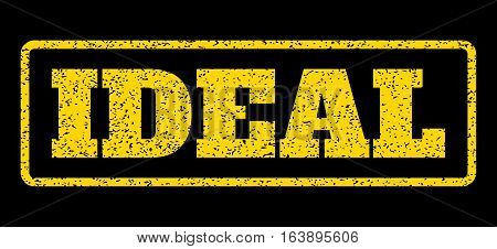 Yellow rubber seal stamp with Ideal text. Vector tag inside rounded rectangular frame. Grunge design and scratched texture for watermark labels. Horisontal sticker on a blue background.