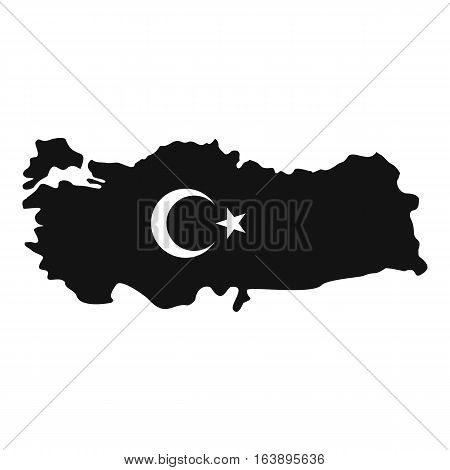 Map of Turkey with national flag symbols icon. Simple illustration of map of Turkey with national flag symbols vector icon for web
