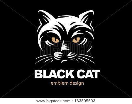 Black cat face logo - vector illustration, emblem design