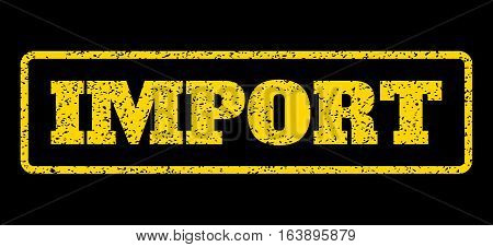 Yellow rubber seal stamp with Import text. Vector caption inside rounded rectangular shape. Grunge design and dust texture for watermark labels. Horisontal emblem on a blue background.