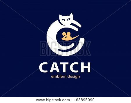 Cat and mouse catch illustration, emblem logo design