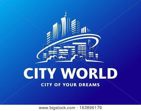 City world logo - vector illustration, emblem design on blue background