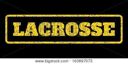 Yellow rubber seal stamp with Lacrosse text. Vector tag inside rounded rectangular shape. Grunge design and scratched texture for watermark labels. Horisontal sign on a blue background.