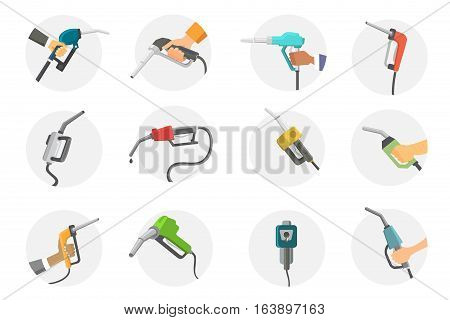 Filling gas station pistol vector illustration. Chemistry refinery refueling petroleum tank service. Energy transport hose benzine liquid industry.