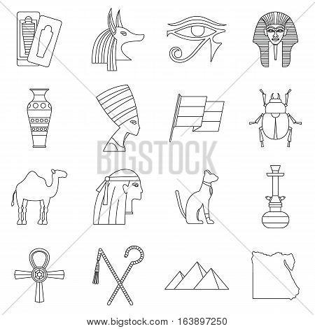 Egypt travel items icons set. Outline illustration of 16 Egypt travel items vector icons for web