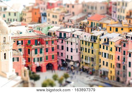 Colorful houses of Vernazza with tilt-shift effect. Cinque terre. Italy