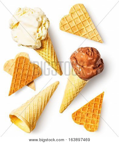 Ice cream with melting scoops waffle cone and wafer hearts collection. Summer sweet dessert. Design elements isolated on white background. Flat lay top view