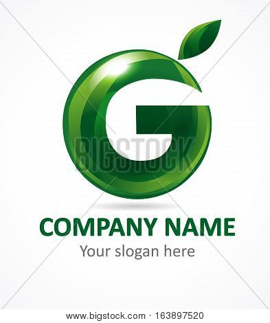 Letter G green apple abstract brandname sign. Branding vector logo letter G design. Eco green beauty saloon, spa lab, gardening, environmental protection, veggie healthcare natural food business sign.