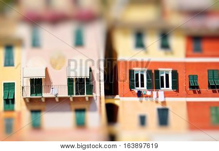 View on colorful houses in Portofino Italy Europe. Miniature tilt shift lens effect.