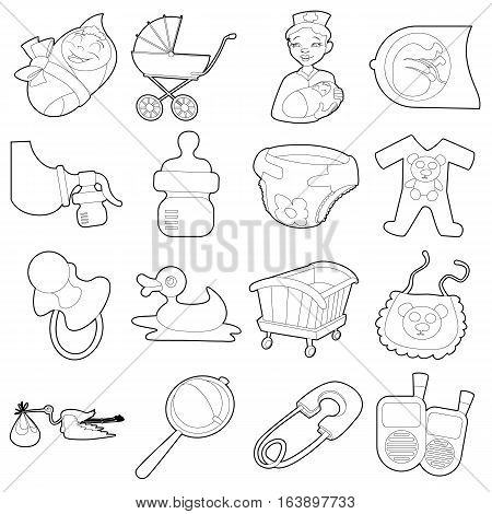 Baby born icons set. Cartoon outline illustration of 16 baby born vector icons for web