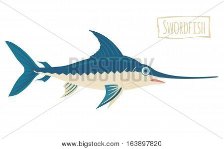 Swordfish, blue and beige, vector cartoon illustration