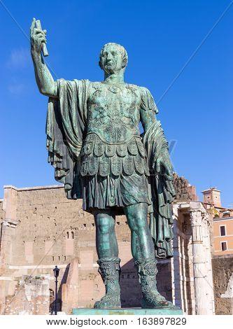 Bronze statue of Emperor Nerva in the Forum Romanum, Rome, Italy