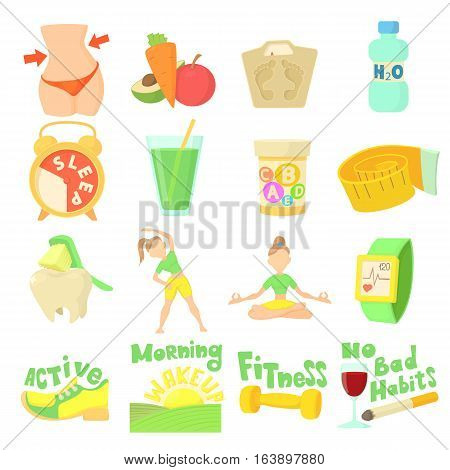 Healthy lifestyle set. Cartoon illustration of 16 healthy lifestyle vector icons for web
