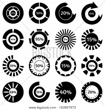 Black download status icons set. Simple illustration of 16 black download status vector icons for web