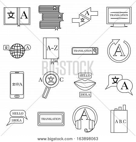 Translator profession icons set. Outline illustration of 16 translator profession vector icons for web