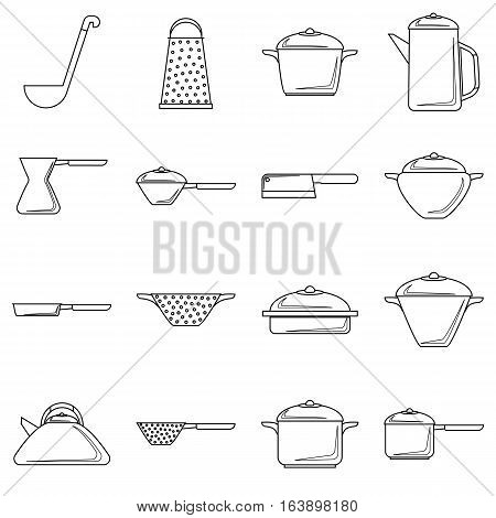 Tableware icons set. Outline illustration of 16 tableware vector icons for web