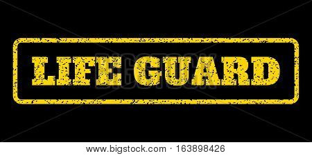 Yellow rubber seal stamp with Life Guard text. Vector tag inside rounded rectangular shape. Grunge design and dirty texture for watermark labels. Horisontal sticker on a blue background.