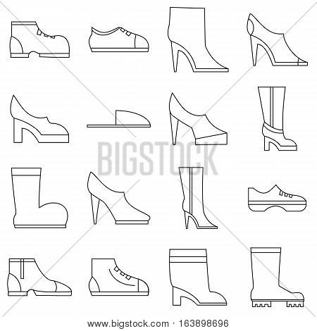 Footwear icons set. Outline illustration of 16 footwear vector icons for web