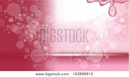 Digital Vector Abstract Pink Background with bubbles and light waves. Ready for product placement and infographic, poster, ads, print or magazine