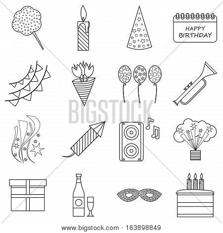 Happy birthday icons set. Outline illustration of 16 happy birthday vector icons for web