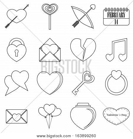 Saint Valentine items tools set. Outline illustration of 16 Saint Valentine items vector icons for web