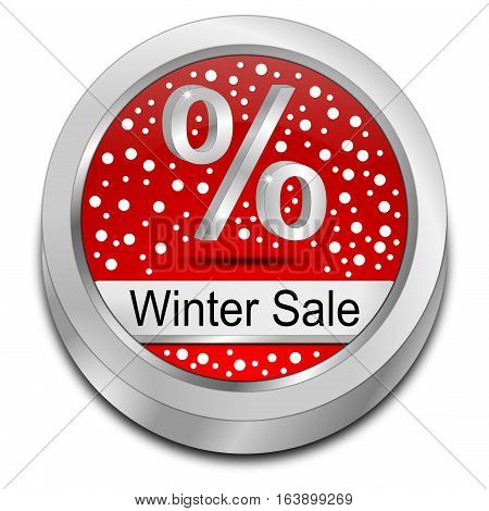 red Winter Sale Button - 3D illustration