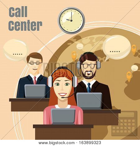 Call center team concept. Cartoon illustration of call center team vector concept for web