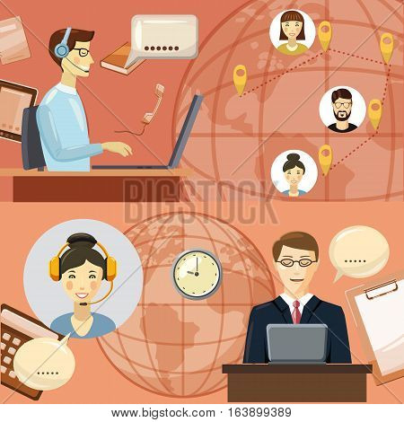 Call center communication concept. Cartoon illustration of call center communication vector concept for web