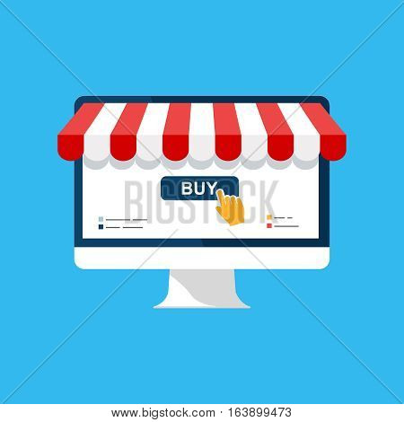 Online shop. Digital Marketing, store, Ecommerce shopping concept. Striped awning, computer screen buy. Colored flat vector icon isolated on blue. Fashion design for web UI, mobile upp, banner, poster