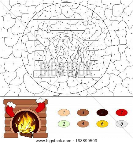 Christmas Fireplace. Color By Number Educational Game For Kids