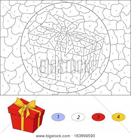 Christmas Gift In A Box. Color By Number Educational Game For Kids