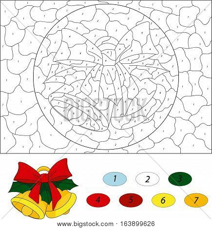Christmas Bells. Color By Number Educational Game For Kids