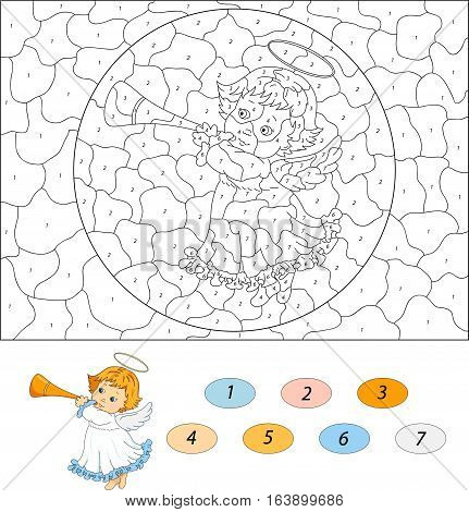 Christmas Angel With A Trumpet. Color By Number Educational Game For Kids