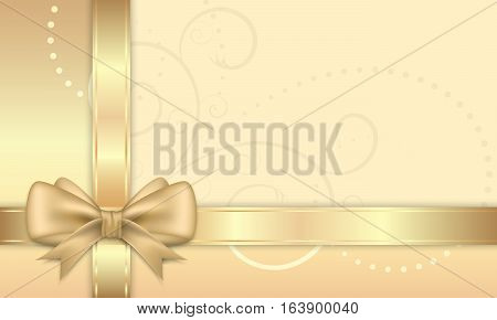 Gift Card With Golden Ribbon And Bow.