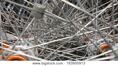 Detail Of Thousands Of Spokes Of The Bicycle Wheel